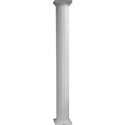 Crown Column 8 In. x 10 Ft. White Powder Coated Round Fluted Aluminum Column