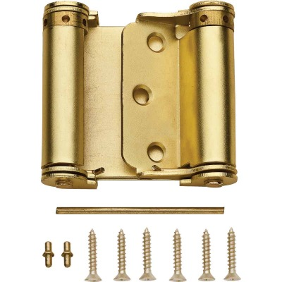 National 3 In. Satin Brass Double-Acting Spring Door Hinge