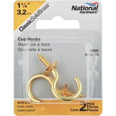 National V2021 1-1/4 In. Solid Brass Series Cup Hook (2 Count)