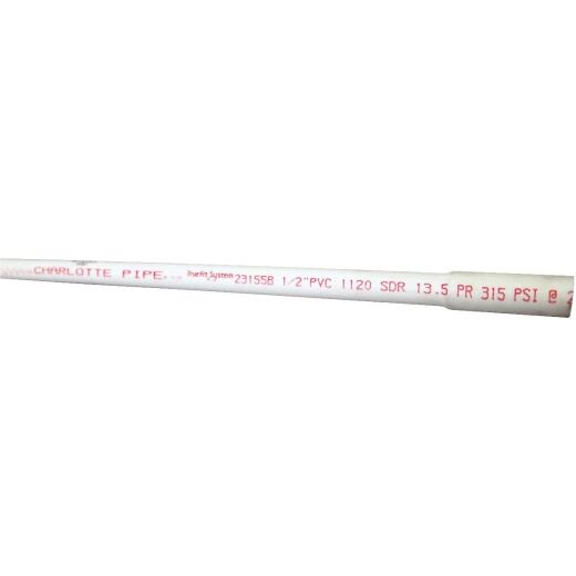 Charlotte Pipe 1/2 In. x 20 Ft. Cold Water PVC Pressure Pipe, SDR 13, Belled End