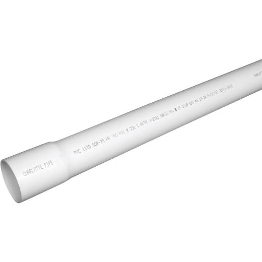 Charlotte Pipe 1-1/2 In. x 20 Ft. Cold Water PVC Pressure Pipe, SDR 26, Belled End