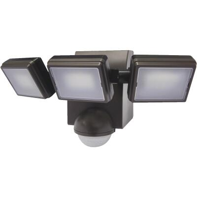 IQ America Bronze 1000 Lm. LED Battery Operated 3-Head Security Light Fixture