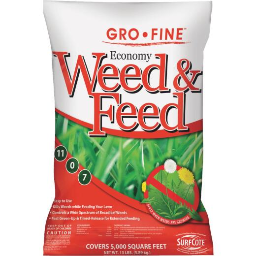 Gro-Fine Economy Weed & Feed 13 Lb. 5000 Sq. Ft. 11-0-7 Lawn Fertilizer with Weed Killer