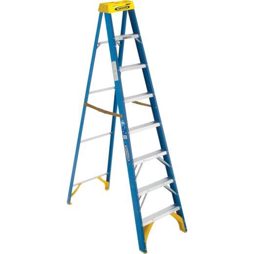 Werner 8 Ft. Fiberglass Step Ladder with 250 Lb. Load Capacity Type I Ladder Rating